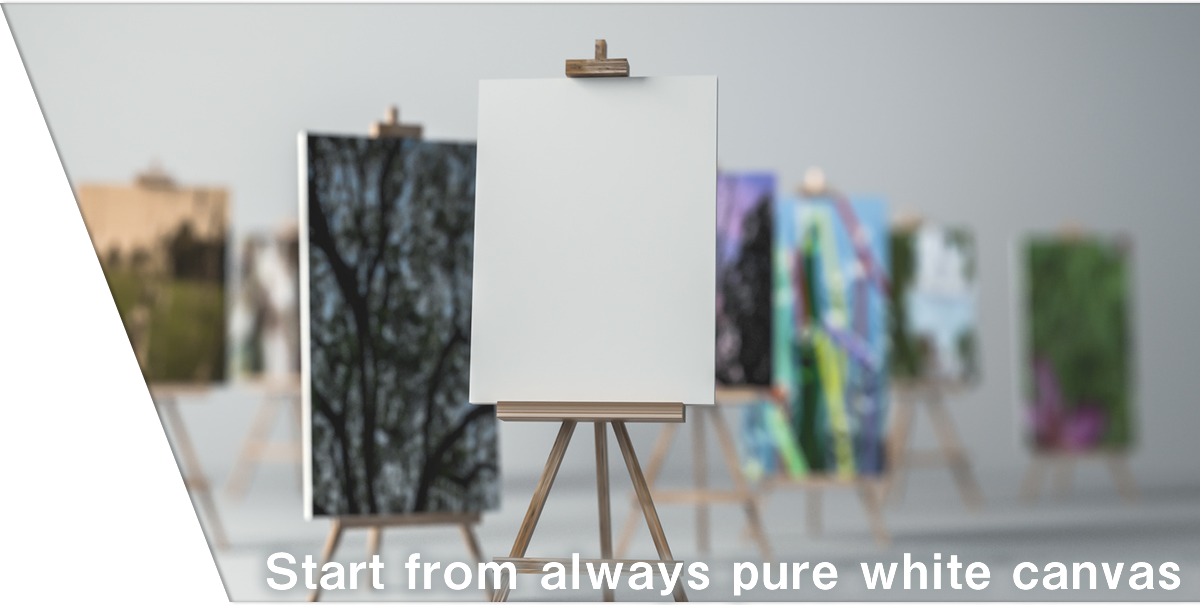 Start from always pure white canvas